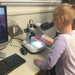 Lydia looking through a microscope