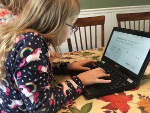Lydia typing on a computer